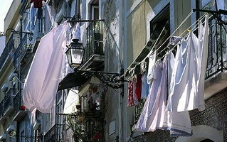Clothes are blown off washing lines